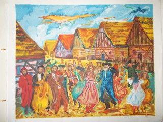Litografía Adler - La fete au village