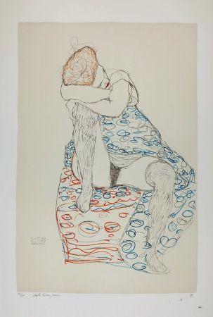 Litografía Klimt - La  fille aux bas de soie assise sur le tabouret, 1910 / Sitzende mit gerafftem Rock / Seated Female Semi-Nude in Patterned Dress, Her Head Resting on Her Right Knee