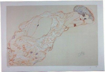 Litografía Klimt - La fille en robe longue