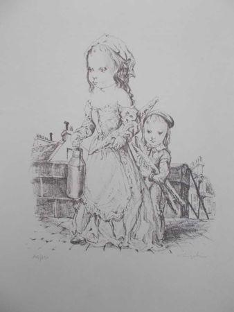 Litografía Foujita - La fille et l'enfant à la baguette de pain et au pot de lait