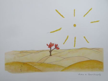 Litografía Saint-Exupéry - La fleur dans le désert
