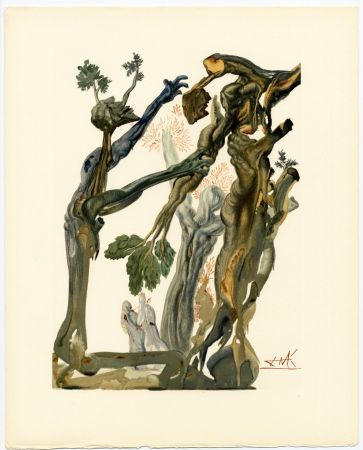 Grabado En Madera Dali - La Forêt des Suicidés. La Divine Comédie (L' Enfer, Chant 13)