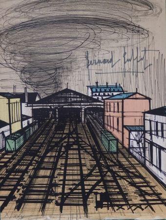 Litografía Buffet - La gare Saint Lazare