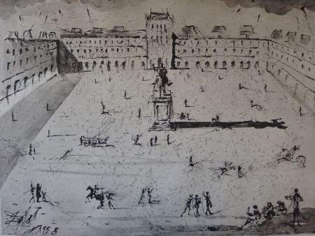 Grabado Dali - La Grande Place des Vosges, du temps de Louis XIII