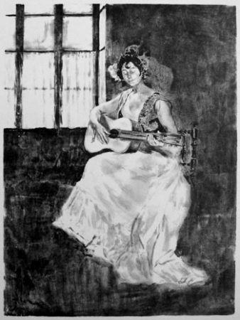 Litografía Lunois - La guitarera / La guitariste