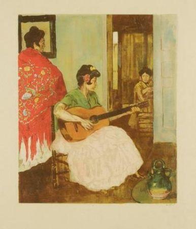 Litografía Lunois - La guitariste / La guitarera