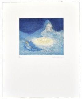 Aguatinta Ikemura  - La huida de los montes azules