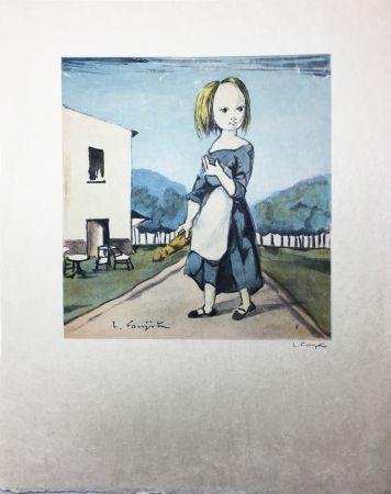 Litografía Foujita - La jeune fille au pain (1963)