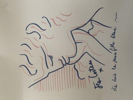 Litografía Cocteau - La jeune fille bleue
