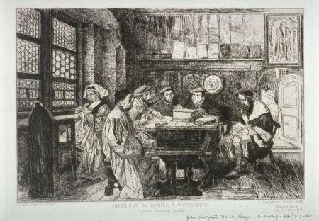 Grabado Leys - La lecture chez Luther