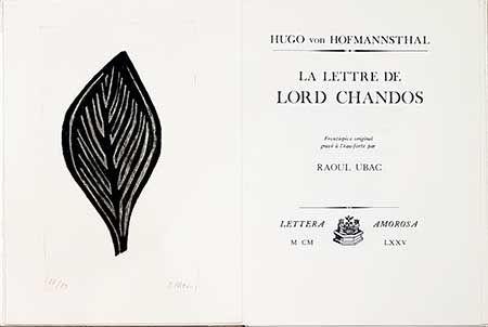 Libro Ilustrado Ubac - La Lettre De Lord Chandos