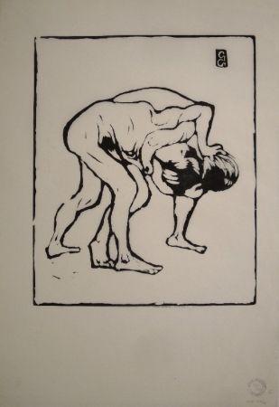 Grabado En Madera Giacometti - La Lotta I. – Ringende Knaben. – Diego und Alberto