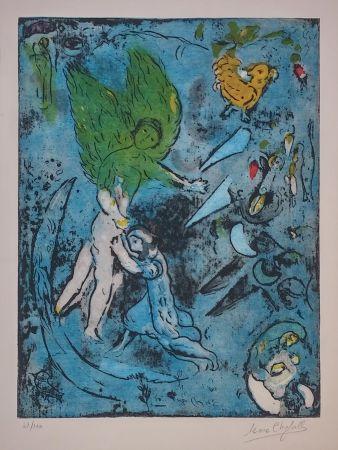 Litografía Chagall - LA LUTTE DE JACOB ET DE L'ANGE