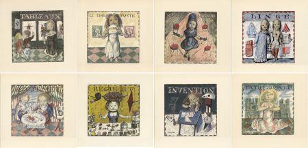Libro Ilustrado Foujita - LA MÉSANGÈRE (Jean Cocteau) 1963. Ex. sur Japon nacré avec suite couleurs