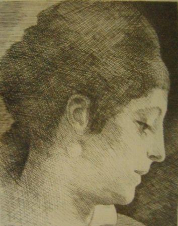 Grabado Marcoussis - La mère de l'artiste, jeune, de profil