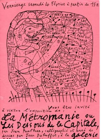 Litografía Dubuffet - La Métromanie ou Les Dessous de la Capitale.
