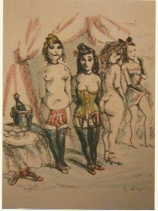 Grabado Foujita - La Mesangere (Four prostitutes)