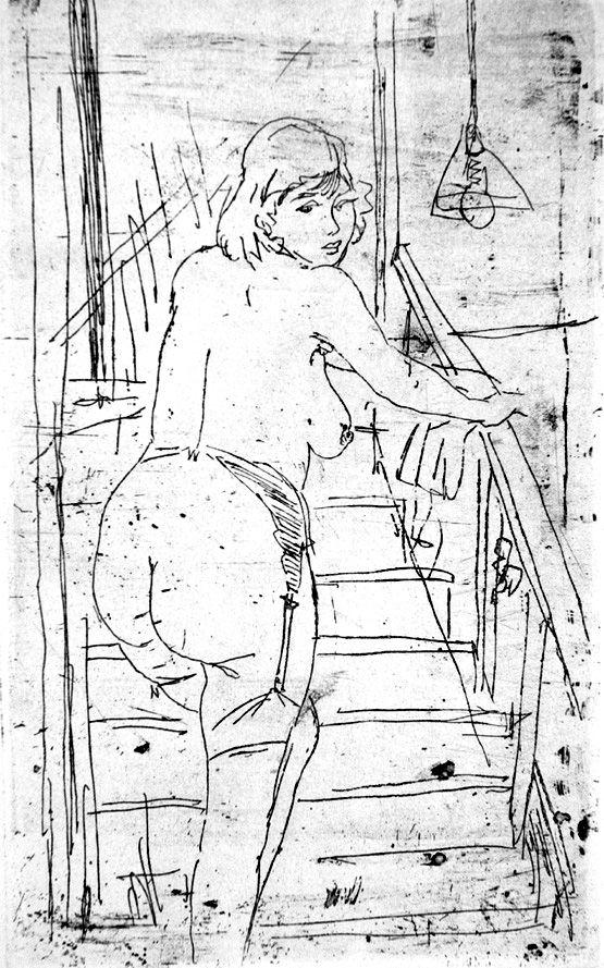 Aguafuerte Manfredi - La modella bionda sulla scale
