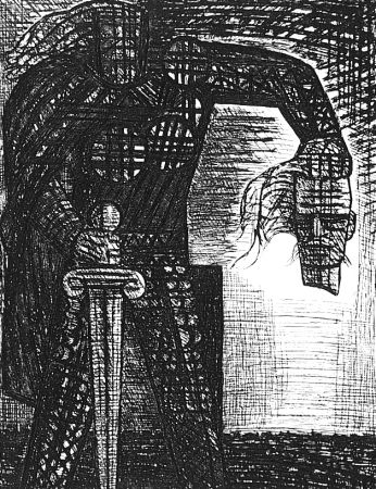 Aguafuerte Gromaire - La mort de Macbeth