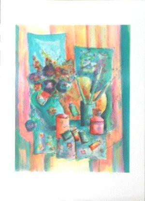 Litografía Agostini  - La palette du peintre