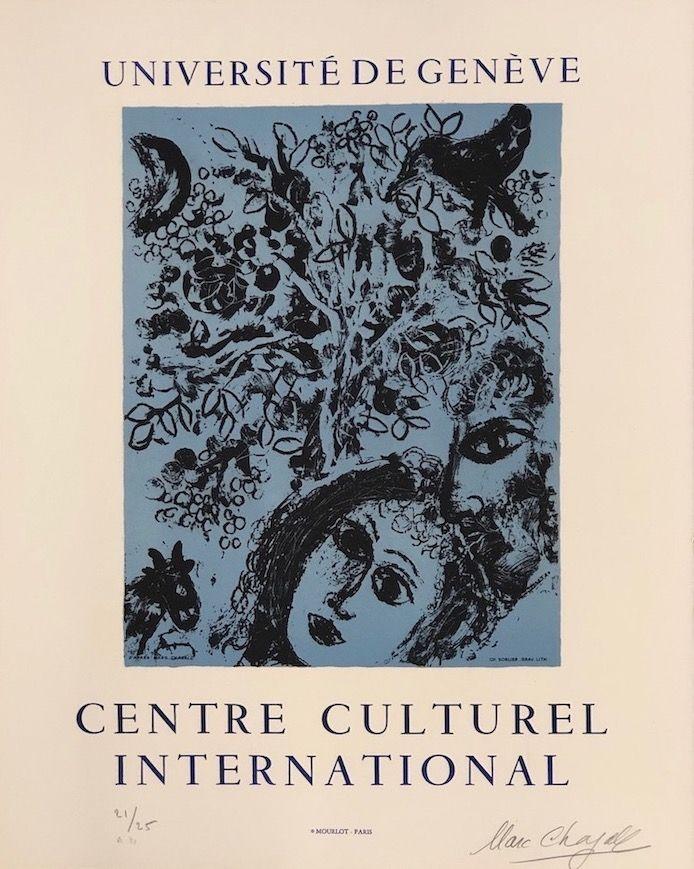 Litografía Chagall - La pareja delante del árbol