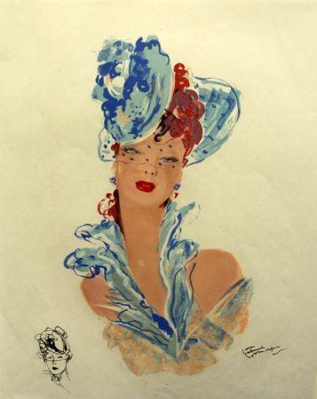 Litografía Domergue - La  Parisienne Femme au Chapeau Bleu