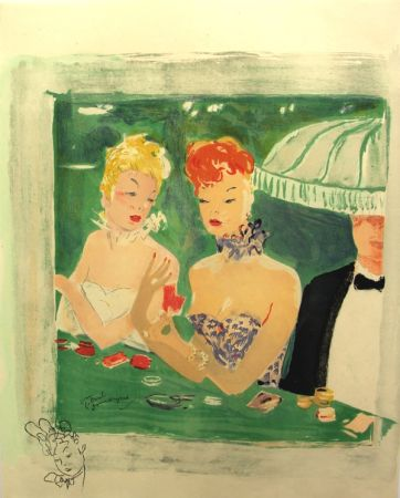 Litografía Domergue - La Parisienne Femmes au Casino