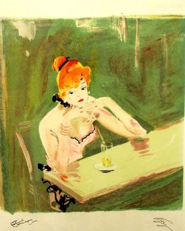 Litografía Domergue - La  Parisienne  Mauricette Au Cafe Caumartin