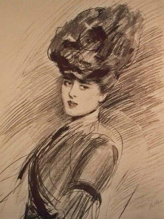 Litografía Helleu - LA PARISIENNE WOMAN IN HAT