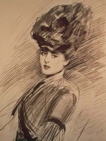 Litografía Helleu - LA PARISIENNE WOMAN IN HAT