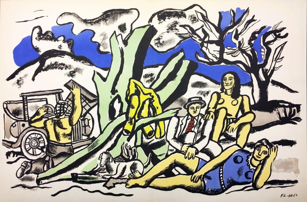 Litografía Leger - LA PARTIE DE CAMPAGNE (1951-1953)