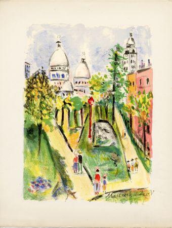 Litografía Utrillo - LA PLACE SAINT-PIERRE (le Sacré-Cœur). Épreuve pour Maurice Utrillo (1955)