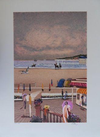Litografía Dilley - La plage de Deauville