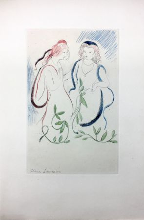 Aguafuerte Laurencin - LA PRINCESSE DE CLÈVES (Pl. VI signée au crayon). 1947