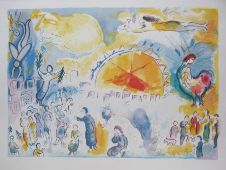 Litografía Chagall - La procession de noël