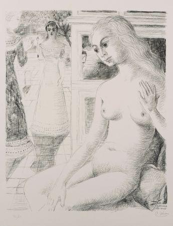 Litografía Delvaux - La rencontre