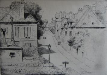 Grabado Delatre - La rue de Paris, à Rozoy-en-Brie