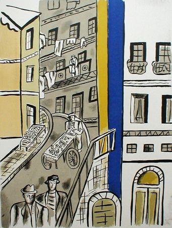 Litografía Leger - La Rue (plate 5 from La Ville)