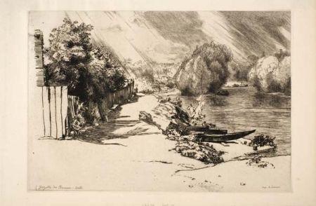 Grabado Bracquemond - La Seine au bas Meudon