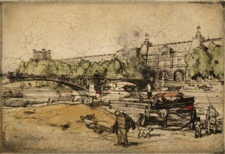 Aguafuerte Y Aguatinta Coussens - La Seine au Pont du Carrousel