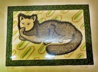 Litografía Buzzati - La signora gatta