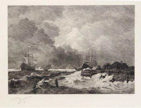 Grabado Huet - La tempête (The Storm) [with] Brisants, Granville (Breakers, Granville)