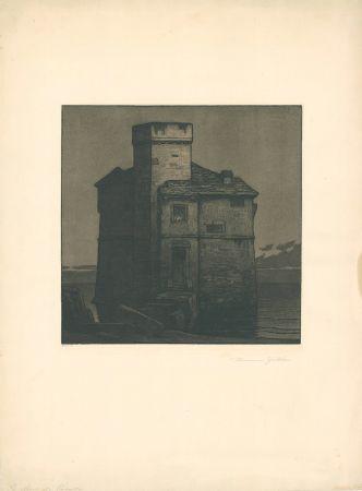 Aguafuerte Y Aguatinta Gattiker - La Torre di Rapallo (Torre Pagana)