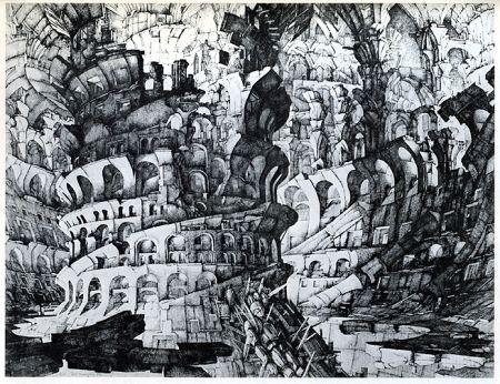 Grabado Desmazières - La Tour de Babel