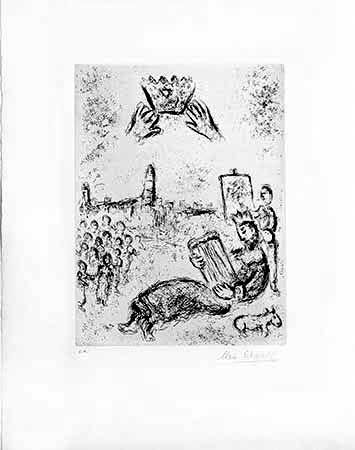 Grabado Chagall - La Tour Du Roi David