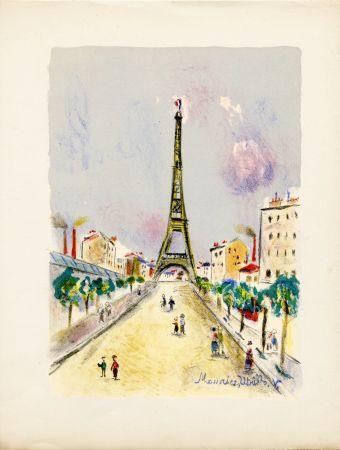 Litografía Utrillo - LA TOUR EIFFEL. Épreuve pour Maurice Utrillo (Paris, 1955)