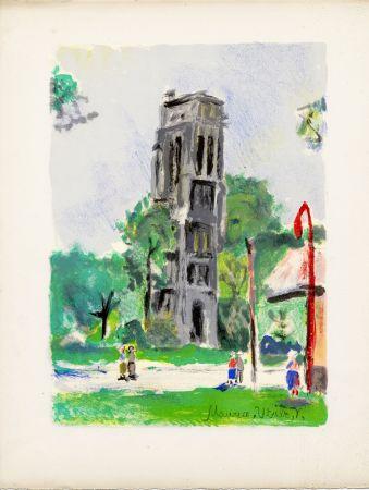 Litografía Utrillo - LA TOUR SAINT-JACQUES. Épreuve pour Maurice Utrillo (Paris, 1955)