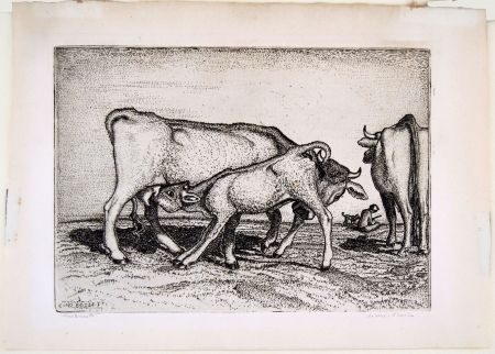 Grabado Bozzetti - LA VACCA E IL BOCCINO (The cow and the calf), fourth version.
