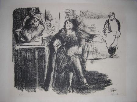 Litografía Sassu - La vecchia mondana