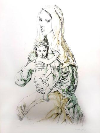 Litografía Foujita - La Vierge et l'Enfant